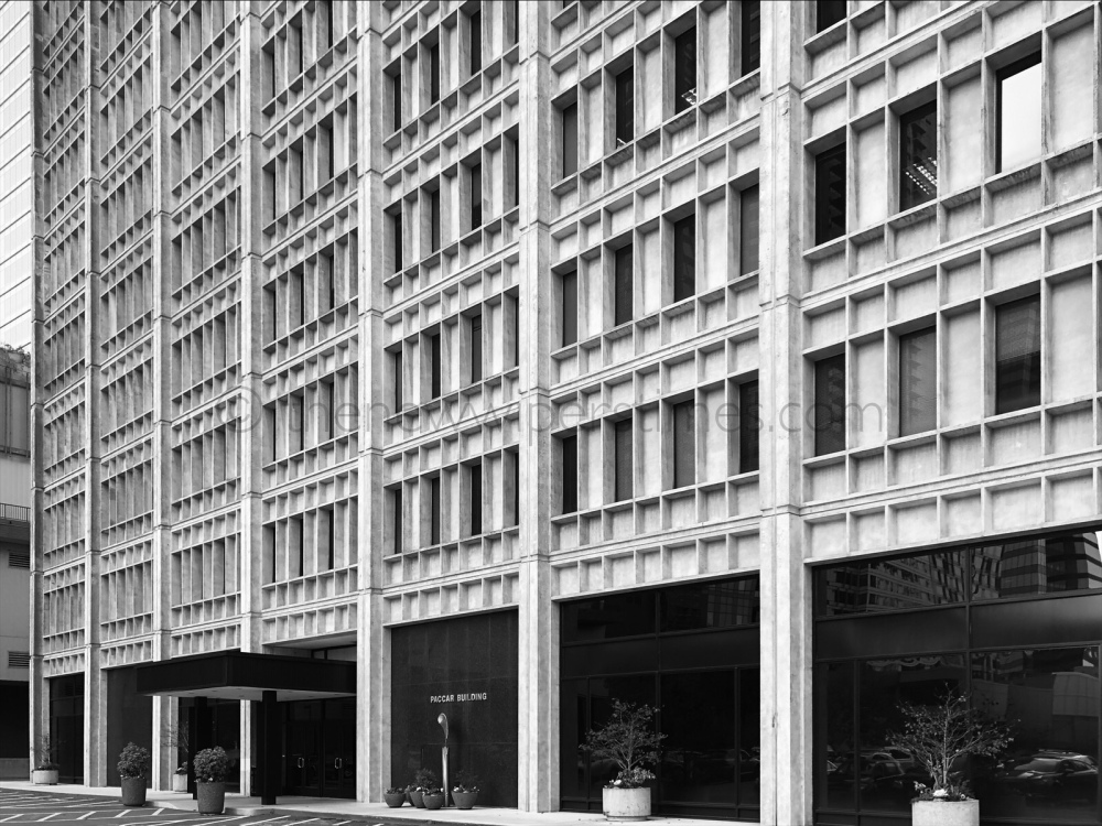 The 'Paccar Building', 777 106th Avenue N.E., Bellevue, WA. Paccar Brutal Brutalist Brutalism Concrete