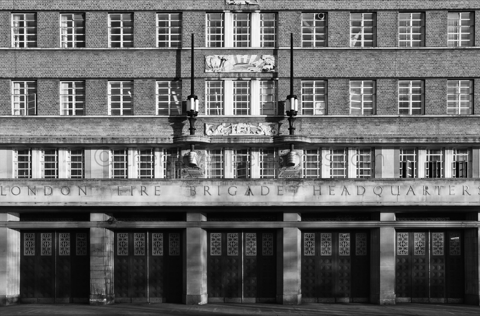 'Lambeth Fire Station', 8 Albert Embankment, London S.E.1 London Fire Brigade L.F.B LFB Edwin Paul Wheeler London County Council Art Deco Streamline Moderne